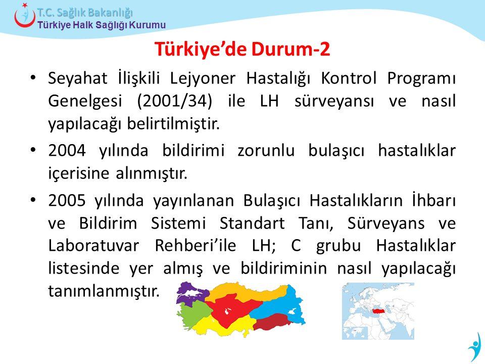 Türkiye'de Durum-2 Seyahat İlişkili Lejyoner Hastalığı Kontrol Programı Genelgesi (2001/34) ile LH sürveyansı ve nasıl yapılacağı belirtilmiştir.