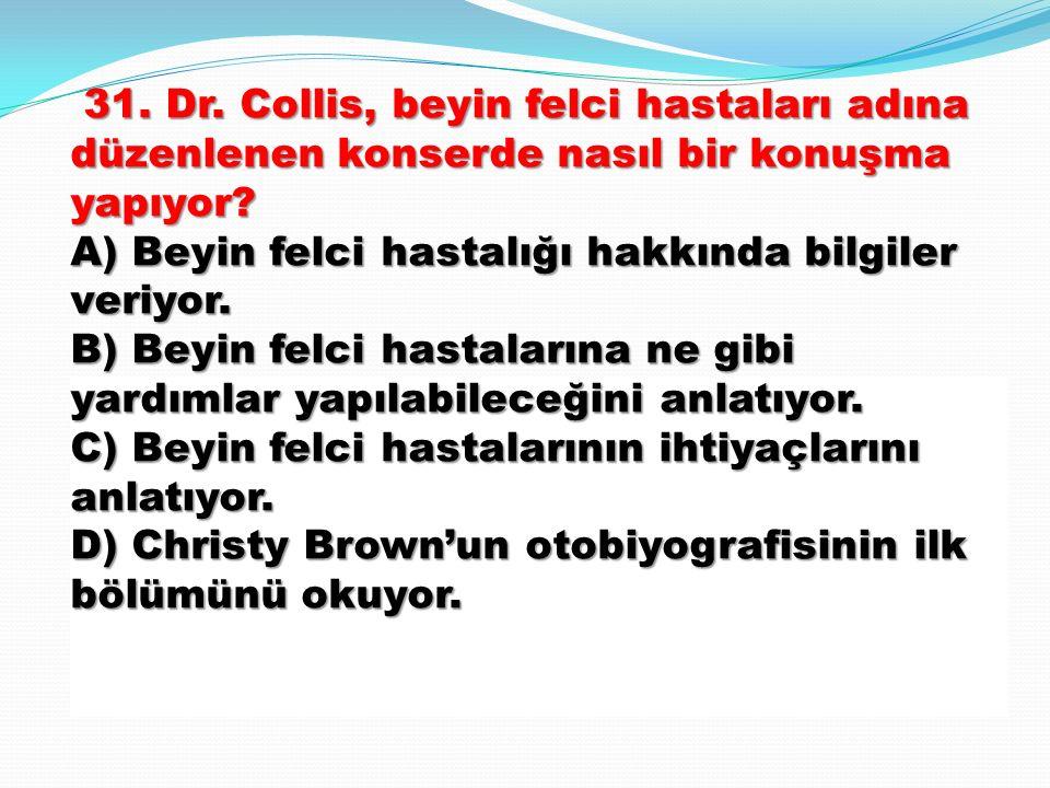 31. Dr. Collis, beyin felci hastaları adına düzenlenen konserde nasıl bir konuşma yapıyor.