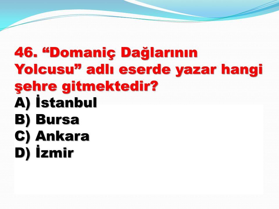 46. Domaniç Dağlarının Yolcusu adlı eserde yazar hangi şehre gitmektedir.