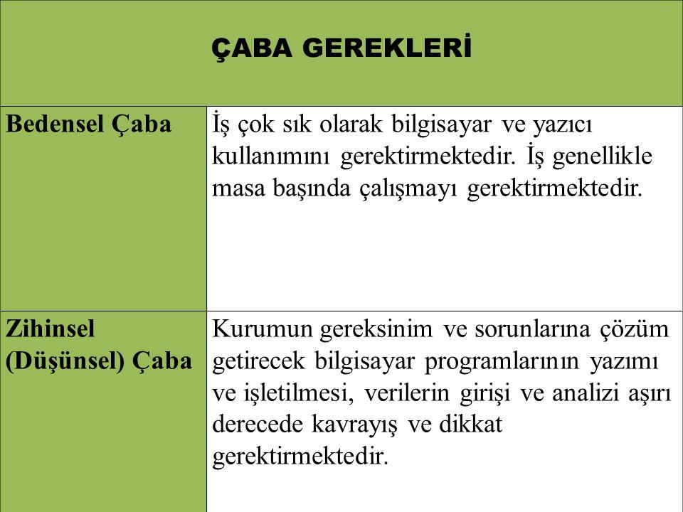 ÇABA GEREKLERİ Bedensel Çaba.