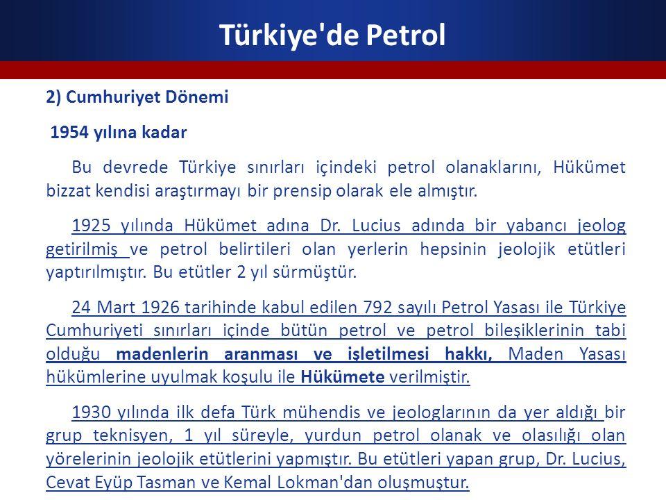 Türkiye de Petrol 2) Cumhuriyet Dönemi 1954 yılına kadar