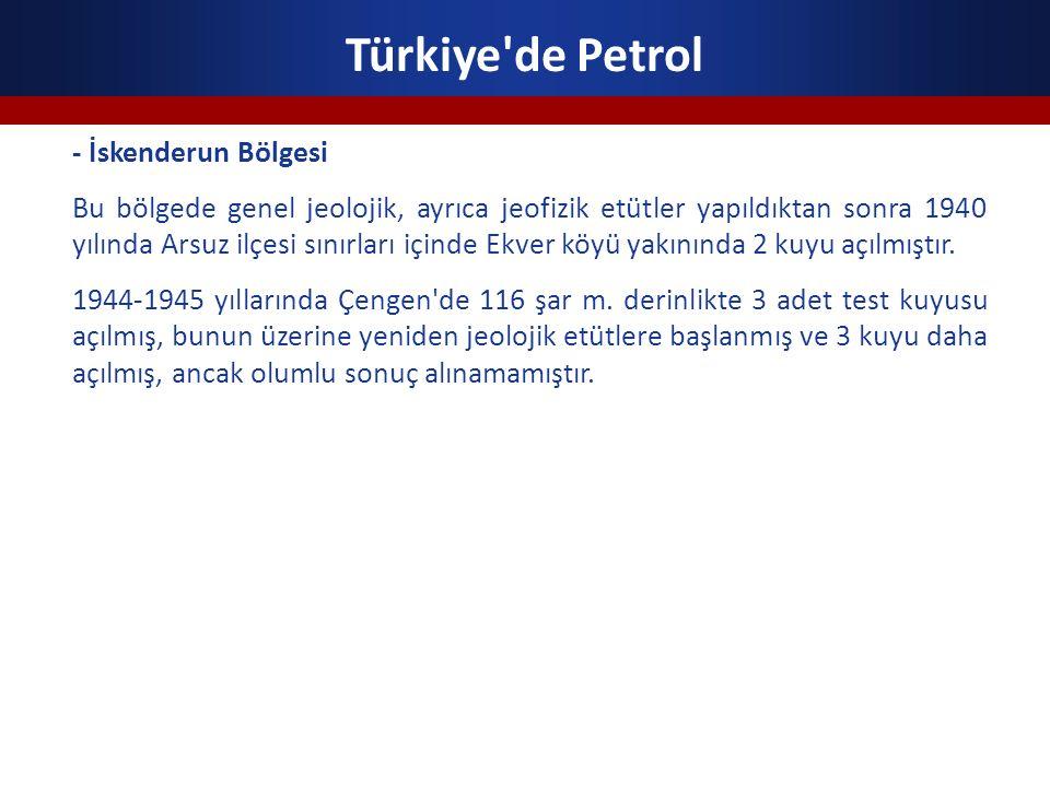 Türkiye de Petrol - İskenderun Bölgesi