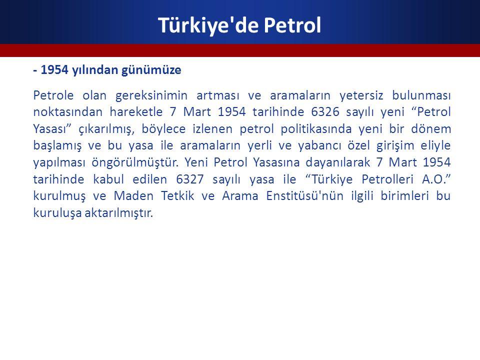 Türkiye de Petrol - 1954 yılından günümüze