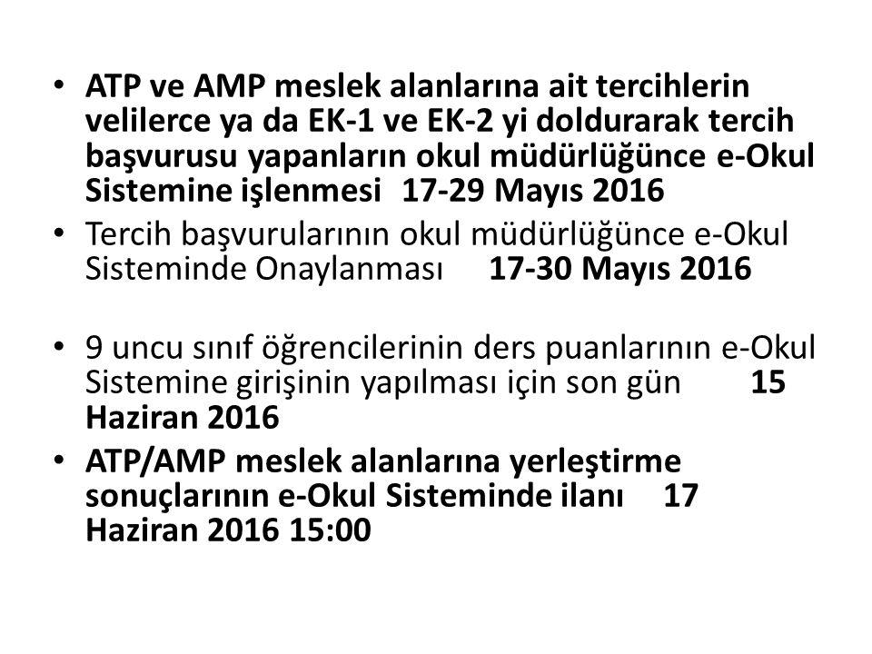 ATP ve AMP meslek alanlarına ait tercihlerin velilerce ya da EK-1 ve EK-2 yi doldurarak tercih başvurusu yapanların okul müdürlüğünce e-Okul Sistemine işlenmesi 17-29 Mayıs 2016