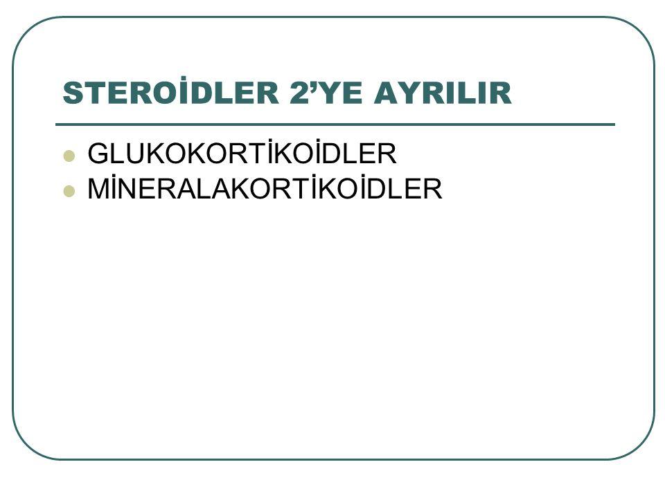 STEROİDLER 2'YE AYRILIR