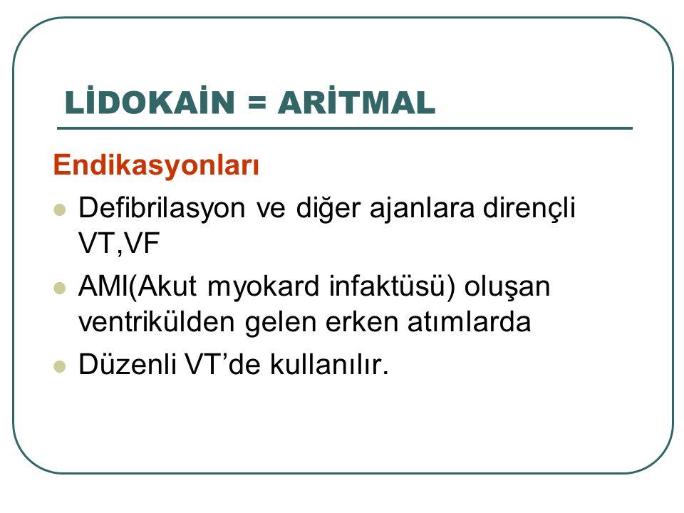 LİDOKAİN = ARİTMAL Endikasyonları