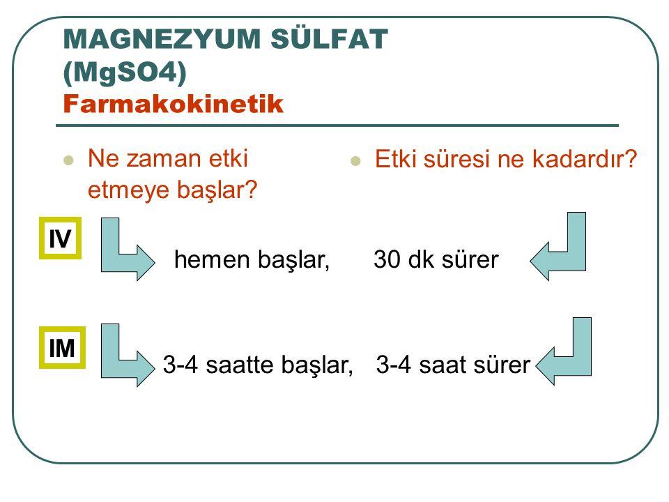 MAGNEZYUM SÜLFAT (MgSO4) Farmakokinetik