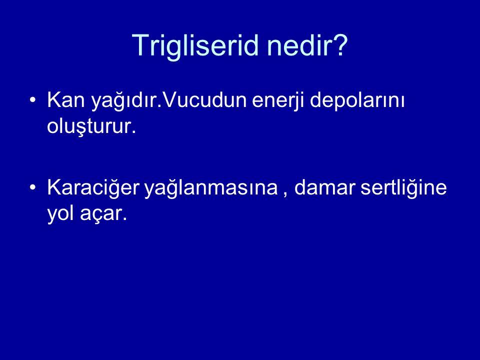 Trigliserid nedir Kan yağıdır.Vucudun enerji depolarını oluşturur.
