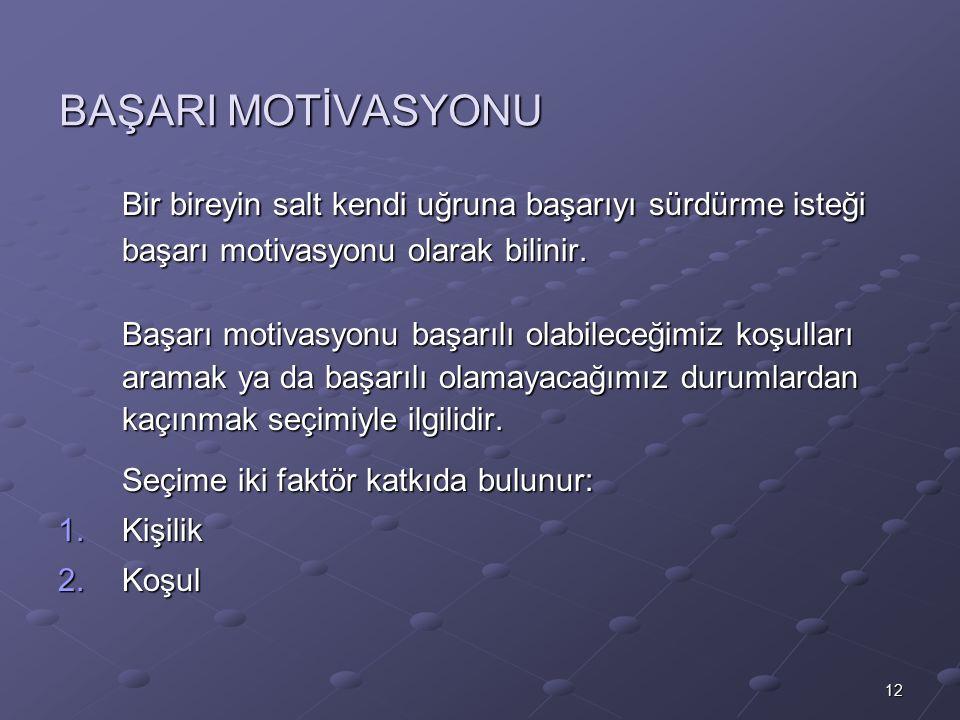 BAŞARI MOTİVASYONU Bir bireyin salt kendi uğruna başarıyı sürdürme isteği başarı motivasyonu olarak bilinir.