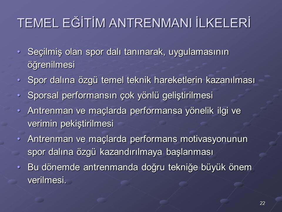 TEMEL EĞİTİM ANTRENMANI İLKELERİ