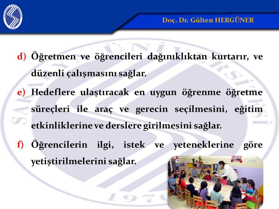 Doç. Dr. Gülten HERGÜNER Öğretmen ve öğrencileri dağınıklıktan kurtarır, ve düzenli çalışmasını sağlar.