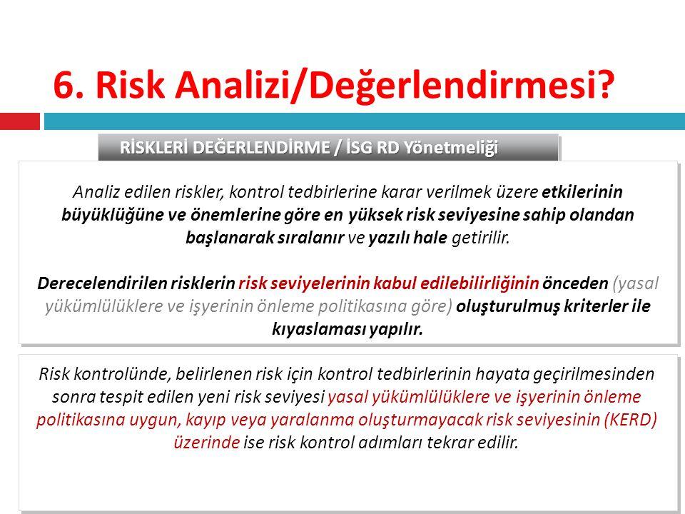 6. Risk Analizi/Değerlendirmesi