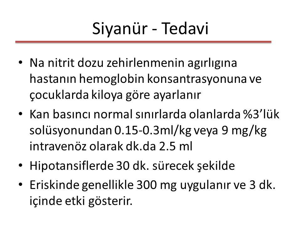 Siyanür - Tedavi Na nitrit dozu zehirlenmenin agırlıgına hastanın hemoglobin konsantrasyonuna ve çocuklarda kiloya göre ayarlanır.
