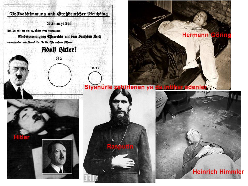 Hermann Göring Siyanürle zehirlenen ya da intihar edenler Hitler Rasputin Heinrich Himmler