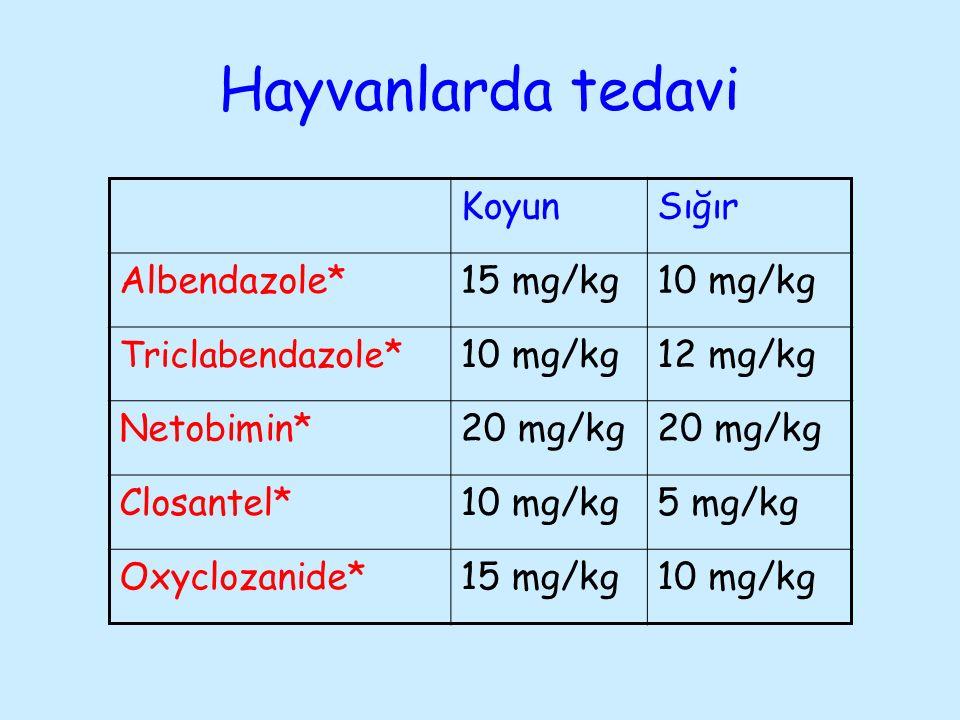 Hayvanlarda tedavi Koyun Sığır Albendazole* 15 mg/kg 10 mg/kg 12 mg/kg