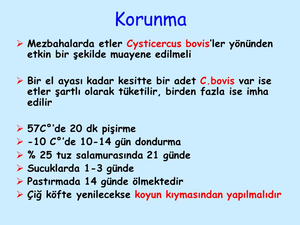 Korunma Mezbahalarda etler Cysticercus bovis'ler yönünden etkin bir şekilde muayene edilmeli.