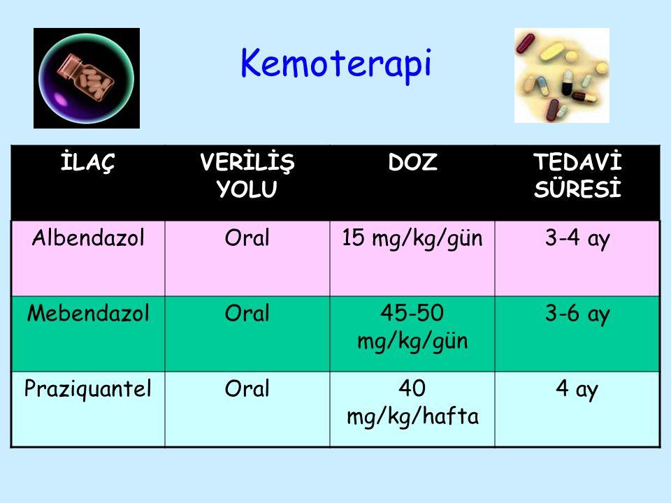 Kemoterapi İLAÇ VERİLİŞ YOLU DOZ TEDAVİ SÜRESİ Albendazol Oral