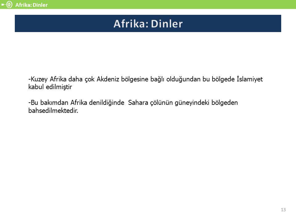 Afrika: Dinler Afrika: Dinler. -Kuzey Afrika daha çok Akdeniz bölgesine bağlı olduğundan bu bölgede İslamiyet kabul edilmiştir.