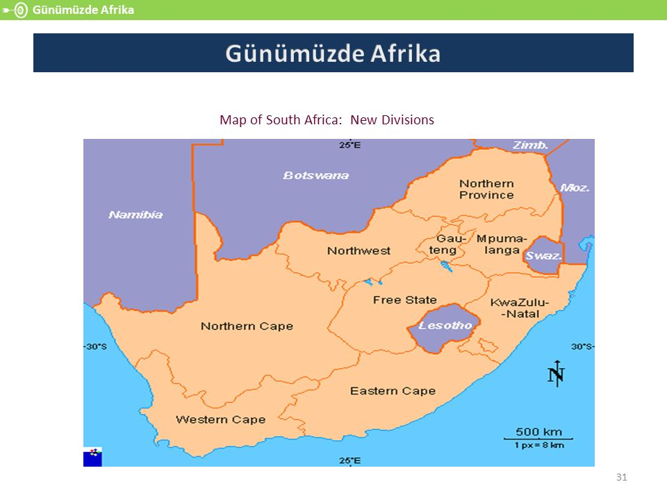Map of South Africa: New Divisions
