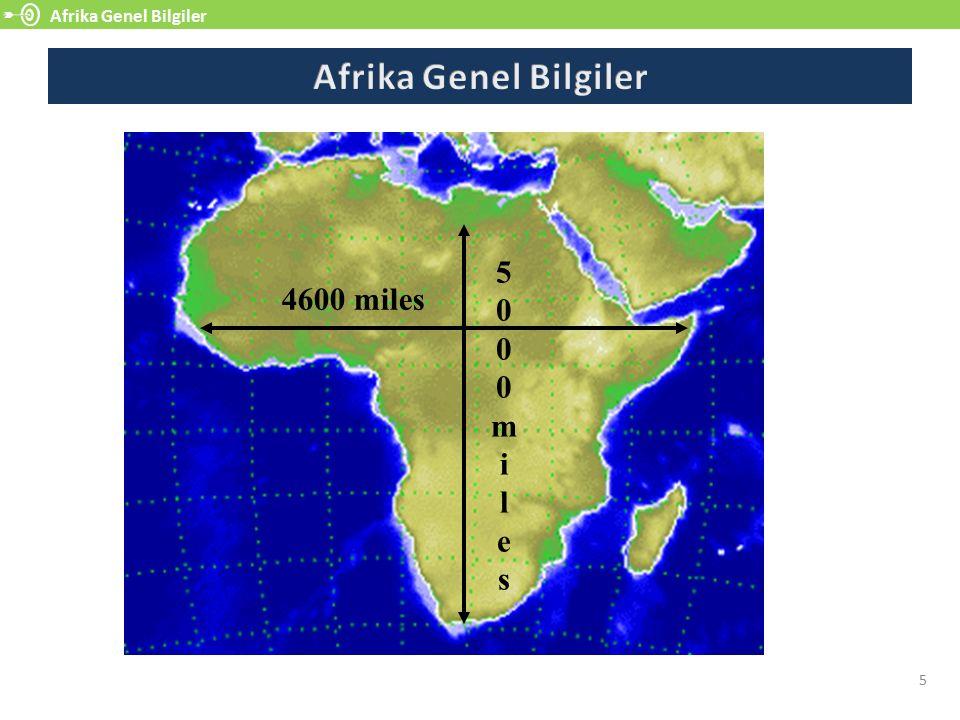 Afrika Genel Bilgiler Afrika Genel Bilgiler 5000 mi l e s 4600 miles 5
