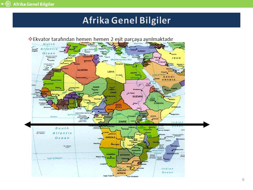 Afrika Genel Bilgiler Afrika Genel Bilgiler. Ekvator tarafından hemen hemen 2 eşit parçaya ayrılmaktadır.