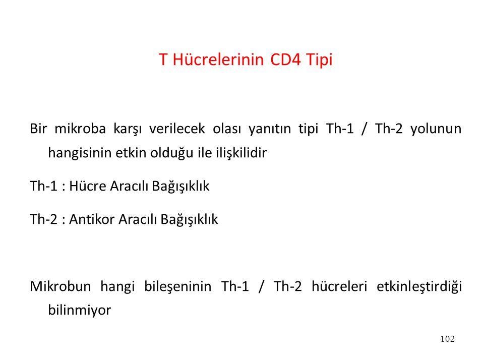 T Hücrelerinin CD4 Tipi Bir mikroba karşı verilecek olası yanıtın tipi Th-1 / Th-2 yolunun hangisinin etkin olduğu ile ilişkilidir.