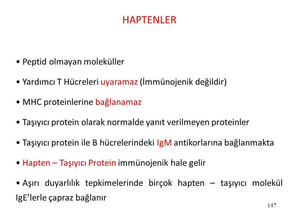 HAPTENLER Peptid olmayan moleküller