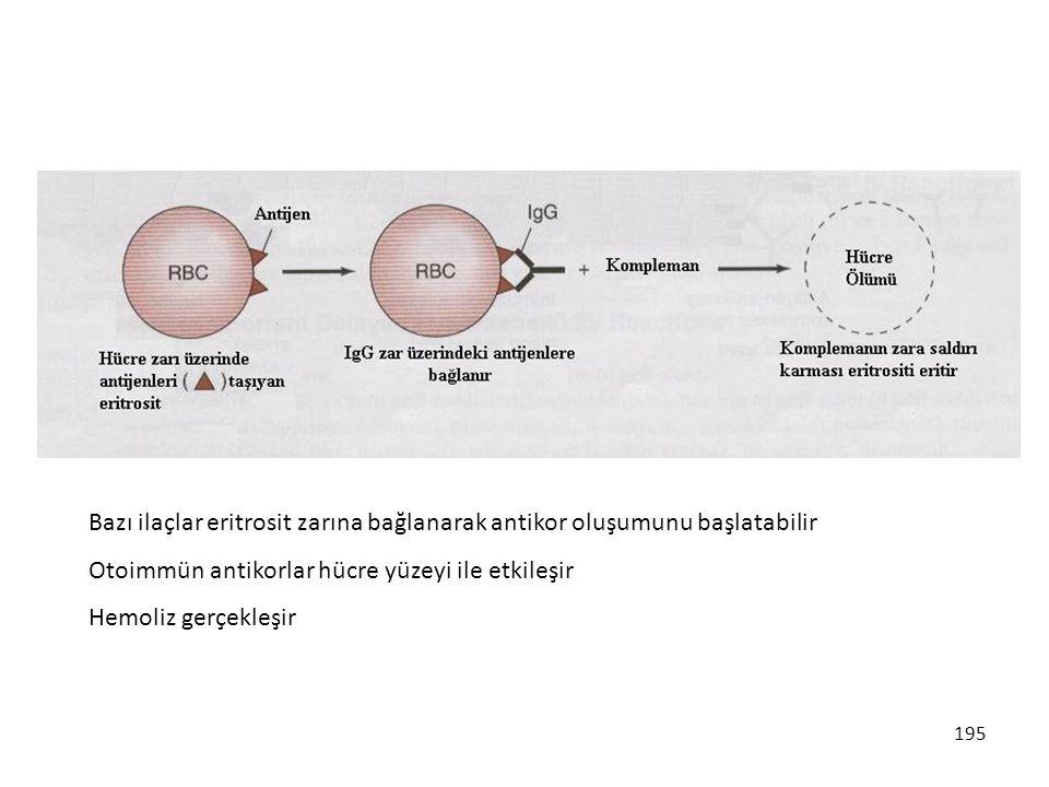 Bazı ilaçlar eritrosit zarına bağlanarak antikor oluşumunu başlatabilir