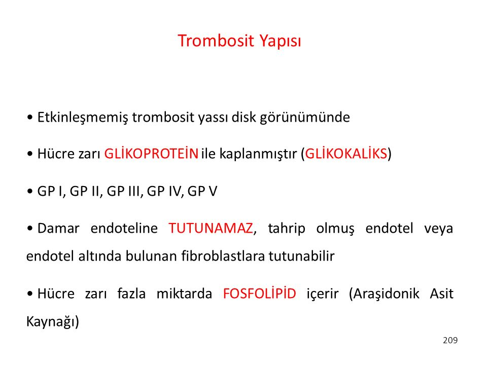 Trombosit Yapısı Etkinleşmemiş trombosit yassı disk görünümünde