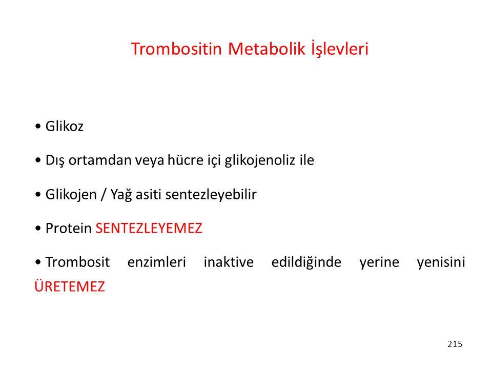 Trombositin Metabolik İşlevleri