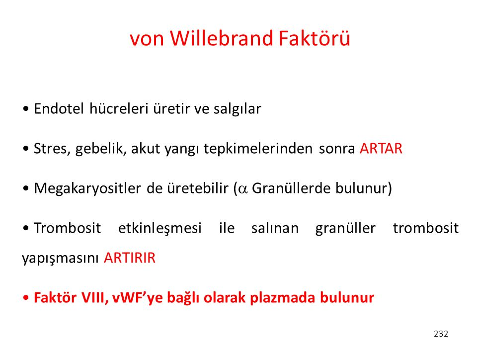 von Willebrand Faktörü