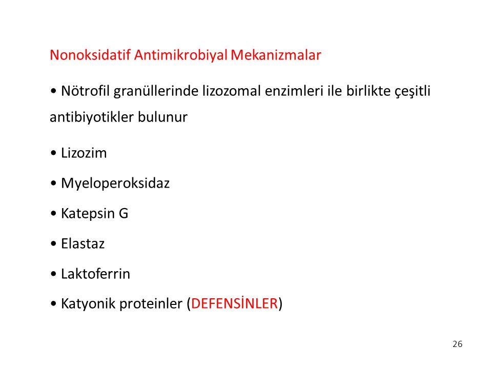 Nonoksidatif Antimikrobiyal Mekanizmalar