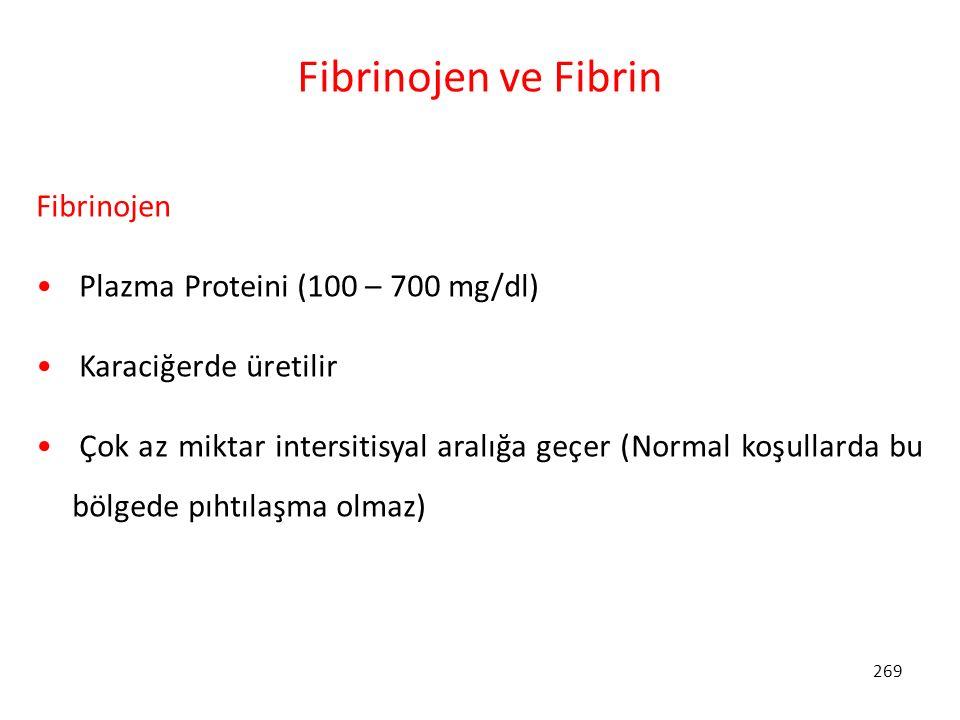 Fibrinojen ve Fibrin Fibrinojen Plazma Proteini (100 – 700 mg/dl)