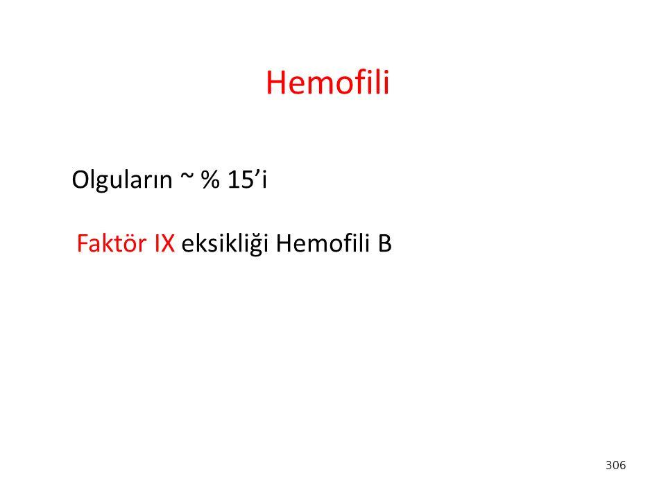 Hemofili Olguların ~ % 15'i Faktör IX eksikliği Hemofili B