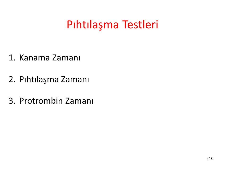 Pıhtılaşma Testleri Kanama Zamanı Pıhtılaşma Zamanı Protrombin Zamanı