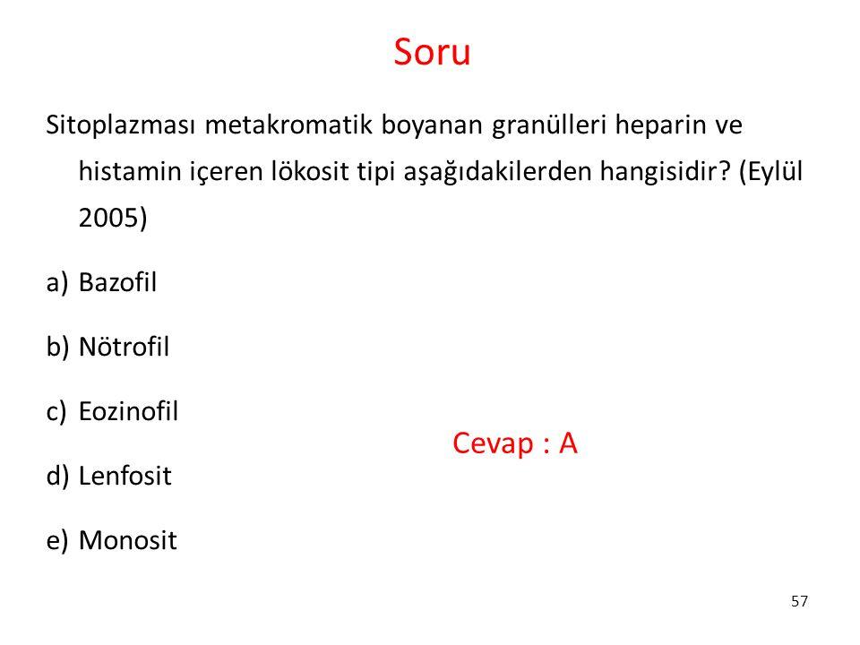 Soru Sitoplazması metakromatik boyanan granülleri heparin ve histamin içeren lökosit tipi aşağıdakilerden hangisidir (Eylül 2005)