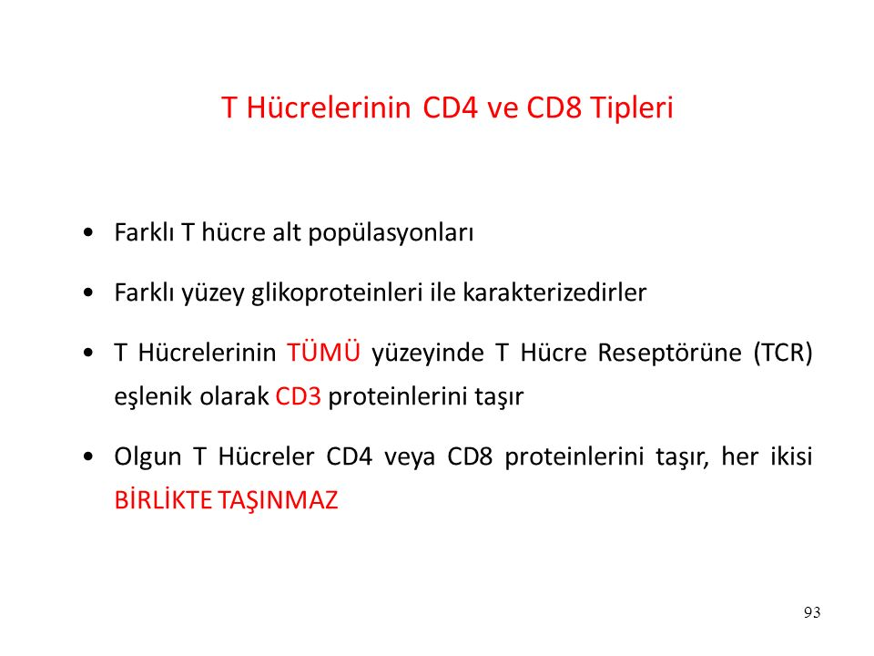 T Hücrelerinin CD4 ve CD8 Tipleri