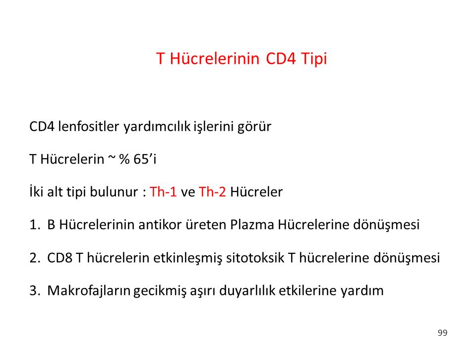 T Hücrelerinin CD4 Tipi CD4 lenfositler yardımcılık işlerini görür