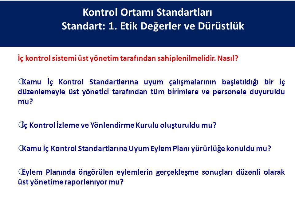 Kontrol Ortamı Standartları Standart: 1. Etik Değerler ve Dürüstlük