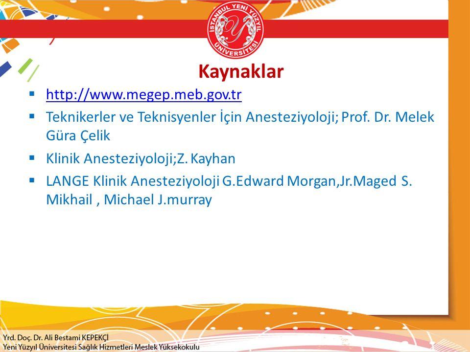 Kaynaklar http://www.megep.meb.gov.tr