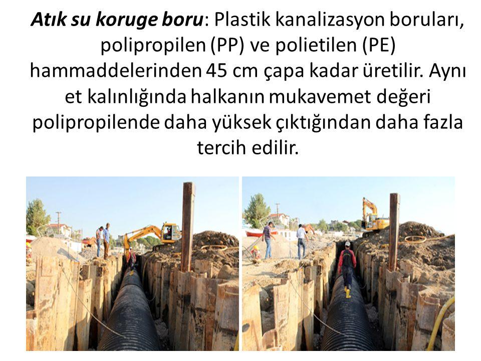 Atık su koruge boru: Plastik kanalizasyon boruları, polipropilen (PP) ve polietilen (PE) hammaddelerinden 45 cm çapa kadar üretilir.