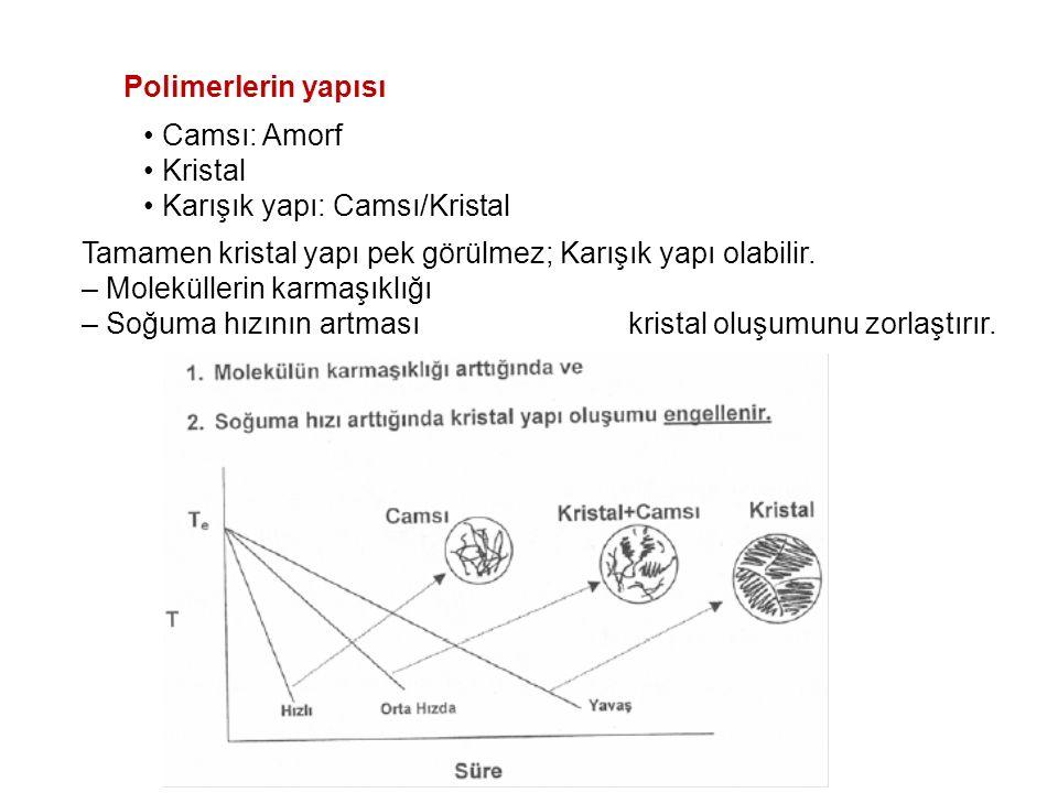 Polimerlerin yapısı • Camsı: Amorf. • Kristal. • Karışık yapı: Camsı/Kristal. Tamamen kristal yapı pek görülmez; Karışık yapı olabilir.