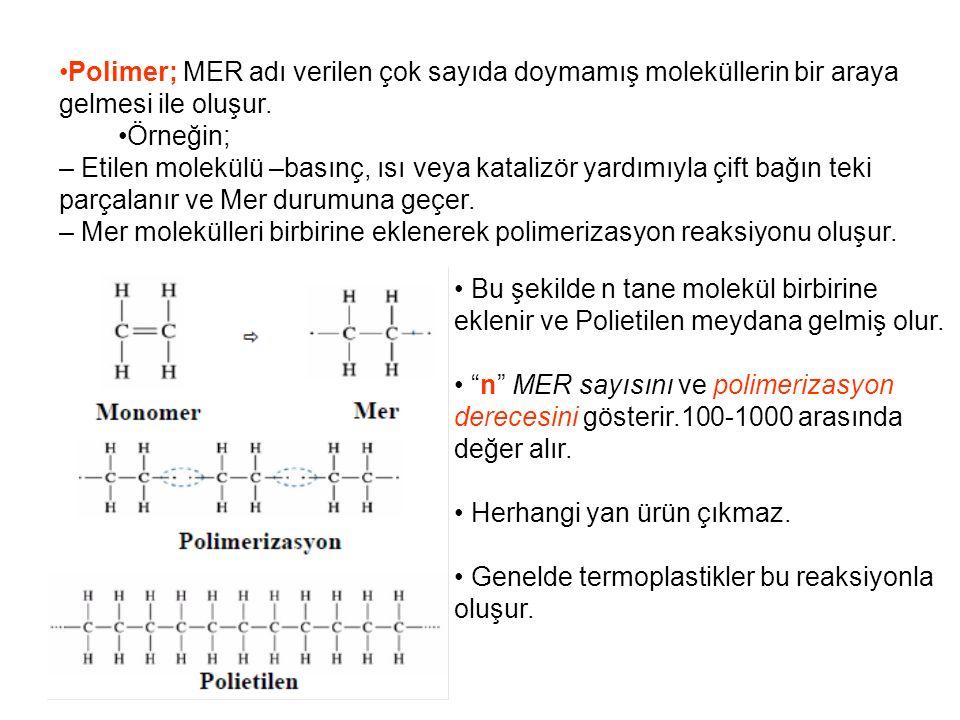 •Polimer; MER adı verilen çok sayıda doymamış moleküllerin bir araya gelmesi ile oluşur.