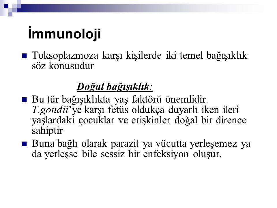 İmmunoloji Toksoplazmoza karşı kişilerde iki temel bağışıklık söz konusudur Doğal bağışıklık: