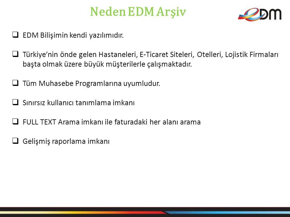 Neden EDM Arşiv EDM Bilişimin kendi yazılımıdır.