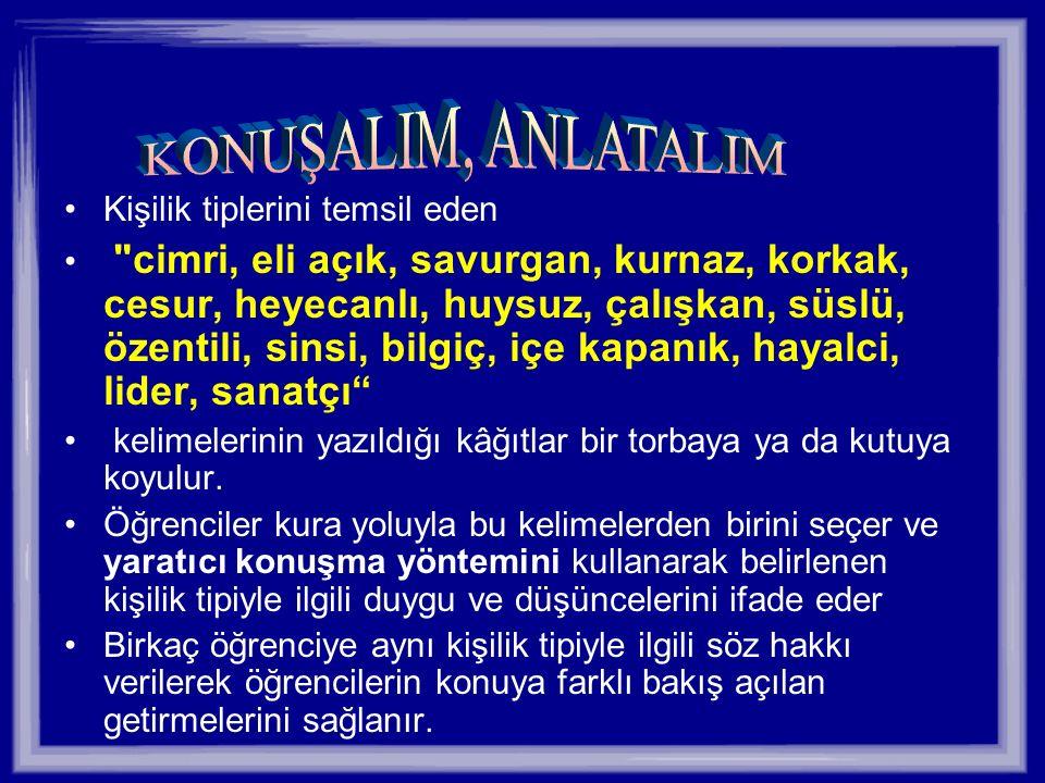 KONUŞALIM, ANLATALIM Kişilik tiplerini temsil eden