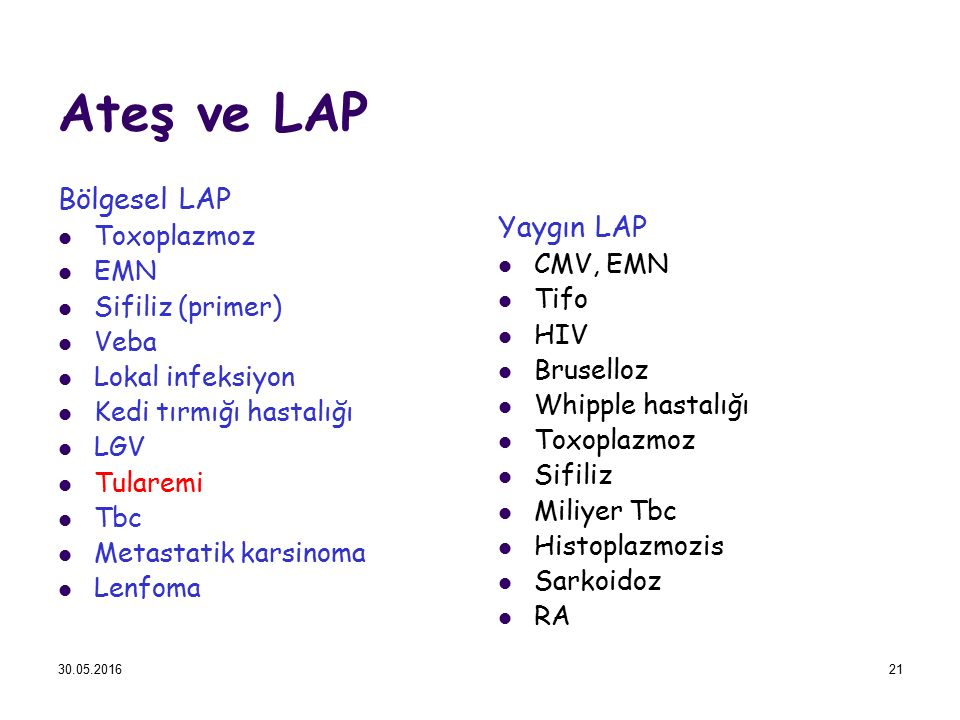 Ateş ve LAP Bölgesel LAP Yaygın LAP Toxoplazmoz EMN CMV, EMN