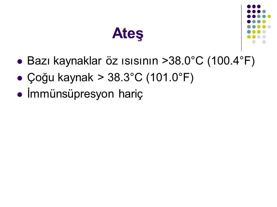 Ateş Bazı kaynaklar öz ısısının >38.0°C (100.4°F)