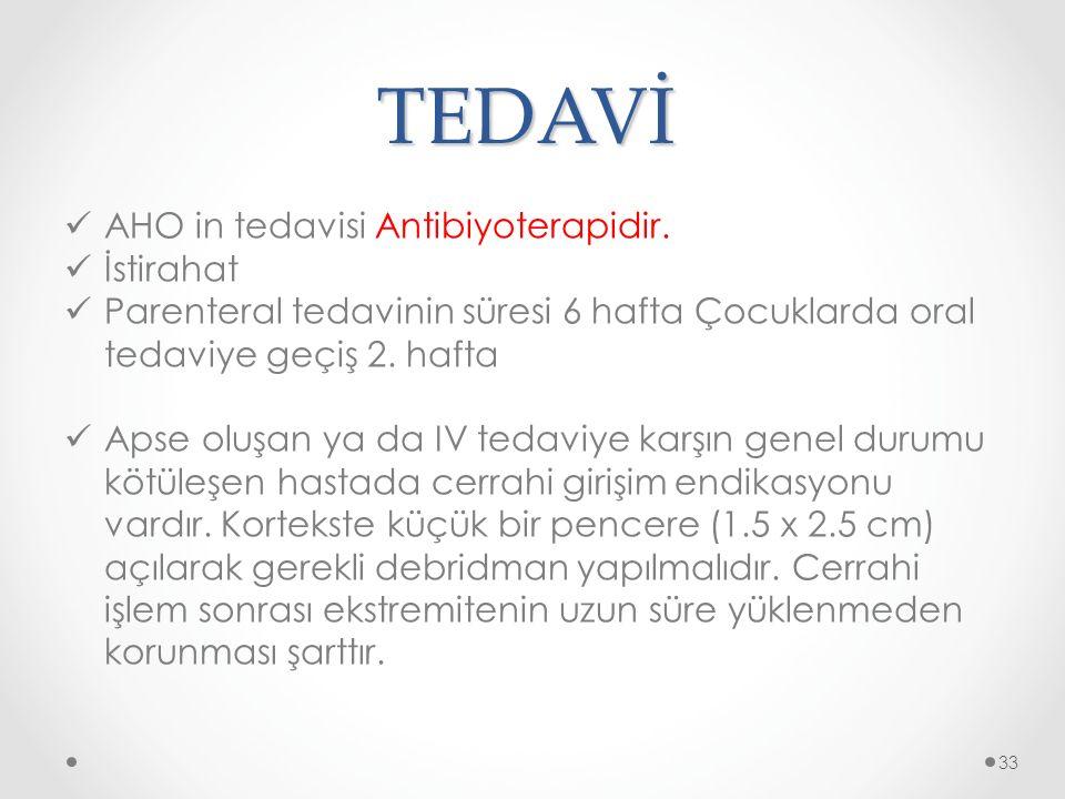 TEDAVİ AHO in tedavisi Antibiyoterapidir. İstirahat