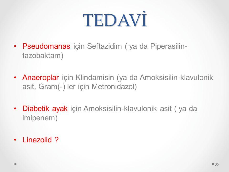 TEDAVİ Pseudomanas için Seftazidim ( ya da Piperasilin-tazobaktam)